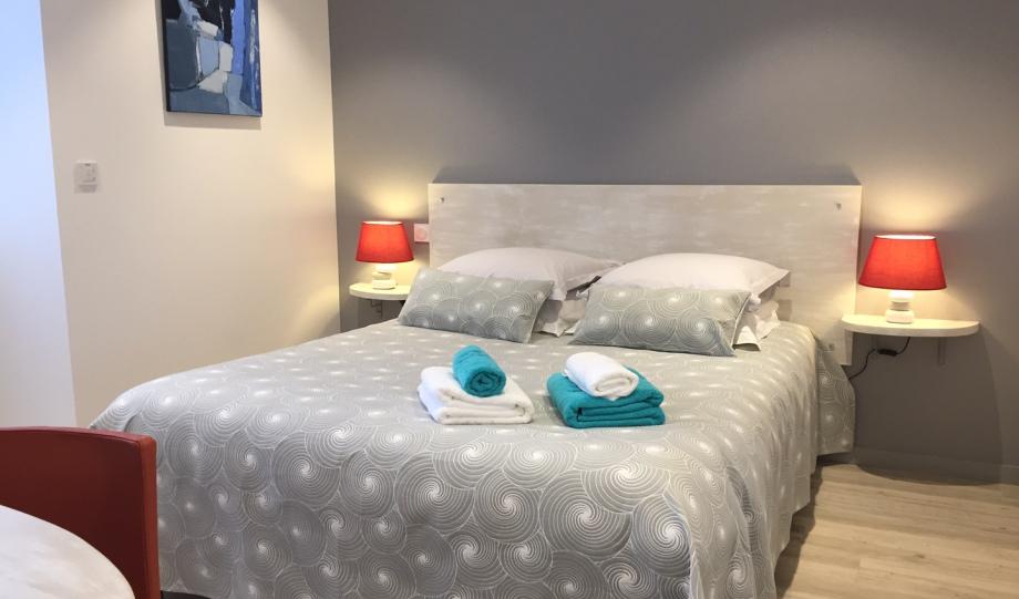 confortable, douillet, cozy, lit queen size, propre, calme, bureau, lumineux,TramB, immeuble pierre